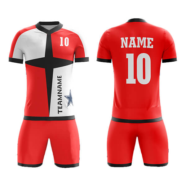 White and Red with Black Panels Sublimation Soccer Kits AFYM-2044