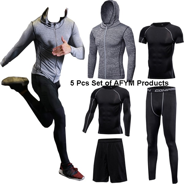 Men Running Fitness Sportswear of 5 Pcs Set in Grey and Black AFYM:30002