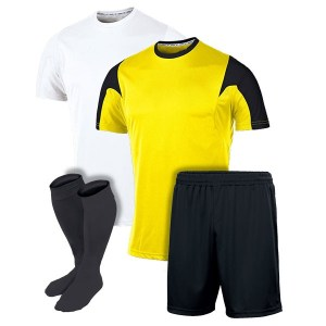 White and Yellow with Black Panel Reversible Sublimation Soccer Kit AFYM:11001