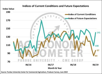 Figure 2. Indices of Current Conditions and Future Expectations, October 2015-June 2019.