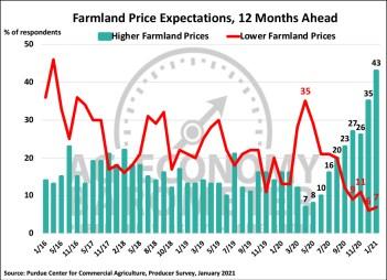 Figure 5. Farmland Price Expectations, 12 Months Ahead, January 2016-January 2021.