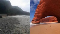 """عااجل بالصور:انهيار قوس شاطئ """"الكزيرة"""" المشهور سياحيا من الدرجة الأولى بمنطقة مير اللفت"""