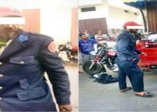 بالصور:مواطن عادي يتجول بزي رجال الشرطة يثير ضجة كبيرة