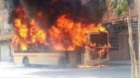 النيران تلتهم حافلة للنقل الحضري..