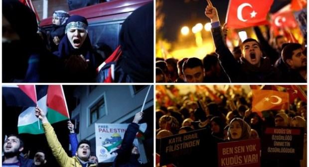 (+صور): مظاهرات حاشدة وإطفاء أضواء المسجد الأقصى ردا على قرار ترامب الاعتراف بالقدس عاصمة ل(اسرائيل)