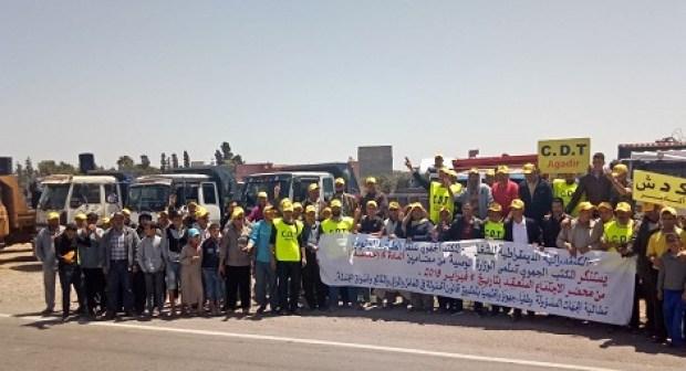 سائقو شاحنات نقل البضائع يلتئمون في وقفة احتجاجية بـآيت ملول…