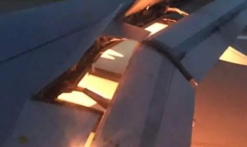 """المنتخب السعودي ينجو من """"كارثة جوية"""" بعد اشتعال النيران في احد اجنحة الطائرة"""