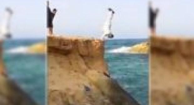 فيديو..شيخ ملتح يُبهر المصطافين بقفزاته المُحكمة بأحد شواطئ المملكة !