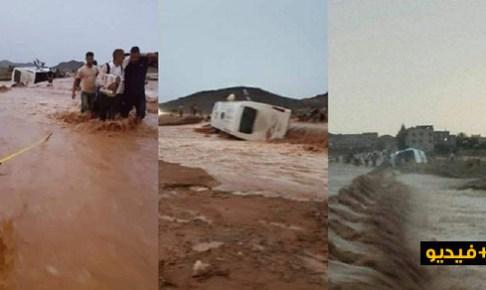 (+فيديو)أمطار غزيرة وفيضانات مفاجئة في عز الصيف تجرف حافلة للركاب