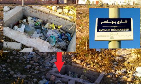 أكادير : مصارف صحية بتجزئة سكنية تتحول لمطرح أزبال في مشهد مقزز.(+صور)