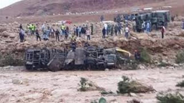 ارتفاع حصيلة ضحايا انقلاب حافلة بسبب السيول الفيضانية