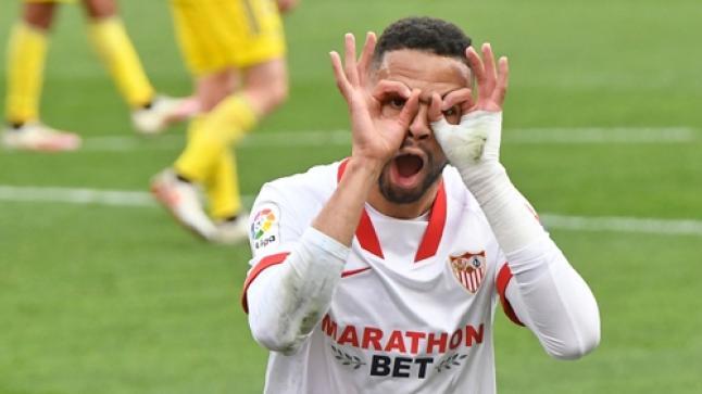 """المغربي النصيري ينتزع صدارة هدافي الدوري الإسباني من ميسي بتسجيله ثاني """"هاتريك"""" (فيديو)"""