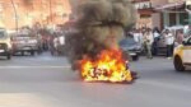 أكادير.. حارس سيارات يهاجم شخصا بسكين ويحرق دراجته النارية (صور)