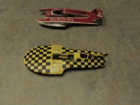 Two recently completed boats--The Squire Shop and the Bardahl. About a a decade apart in racing years, a lifetime apart in hull design.