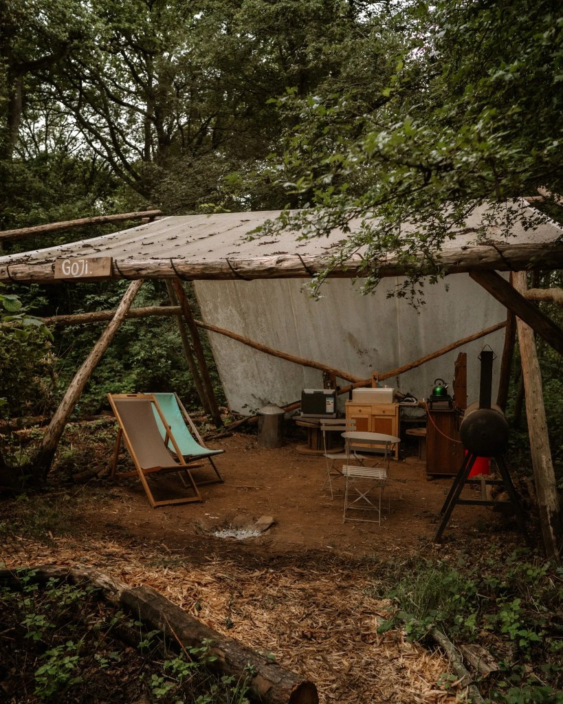 Glamping at Brook House Woods - kitchen area