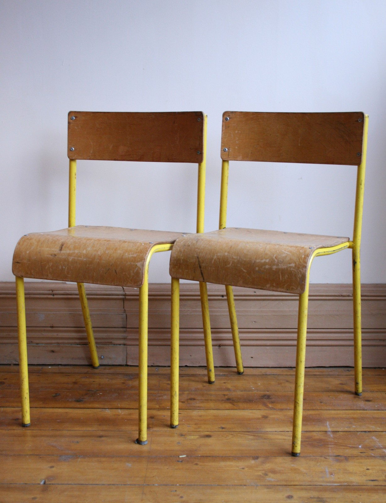 Yellow Metal Chairs Pair Of Yellow Metal And Wood School Chairs Agapanthus