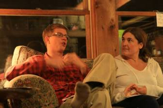 Eric and Brenna speaking Friday night before Francis Day