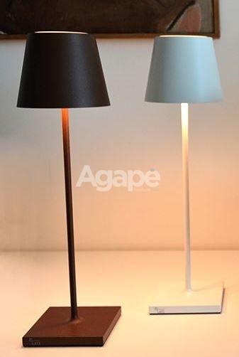 Poldina Lampada da tavolo ricaribile finitura CORTEN  Agap Forniture