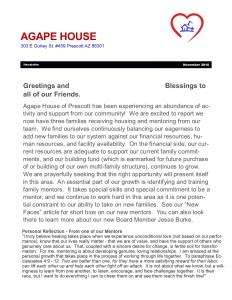 Agape House Newsletter