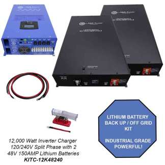 Off Grid / Back Up 12000 Watt Pure Sine Inverter charger 120V / 240V & 48V Lithium Battery Kit