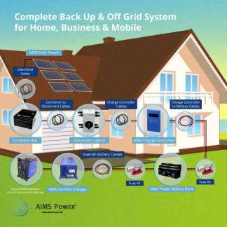 1650 WATT SOLAR WITH 6000 WATT PURE SINE POWER INVERTER CHARGER 120/240VAC 24VDC OFF GRID KIT