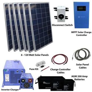 720 WATT SOLAR WITH 1000 WATT 12VDC POWER INVERTER CHARGER KIT OFF GRID