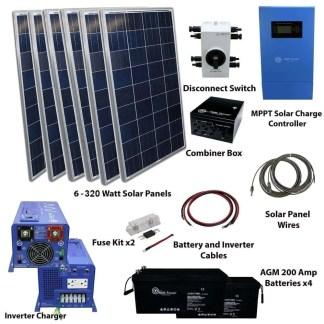 1920 watt 2KW 48 VDC 120AC Solar Kit