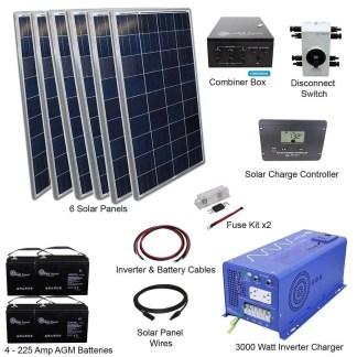 720 WATT SOLAR WITH 3000 WATT PURE SINE POWER INVERTER CHARGER 24 VDC 120 VAC KIT OFF GRID