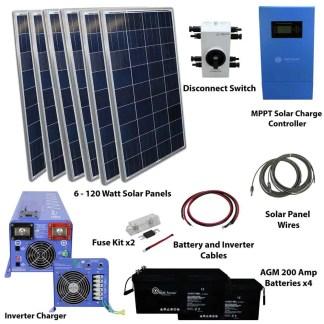 720 WATT SOLAR WITH 4000 WATT PURE SINE POWER INVERTER CHARGER 120/240 VAC KIT OFF GRID 48VDC