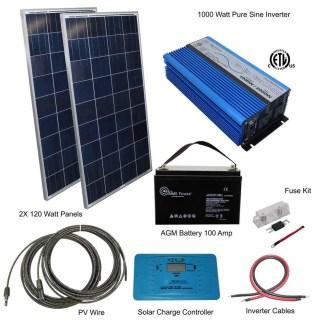 240 watt 2 panel kit with 1000 watt 12v pure sine inverter