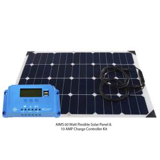 60 Watt Flexible Bendable Slim Solar Panel & 10 AMP Charge Controller Kit