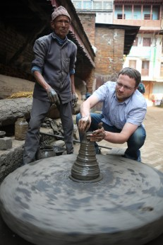 Dan shaping his own pottery in Bhaktapur's Pottery Square