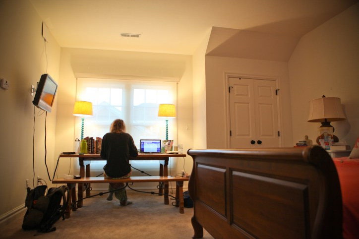 Cassie editing in the beautiful carriage house where we stayed at the Tuno's house.