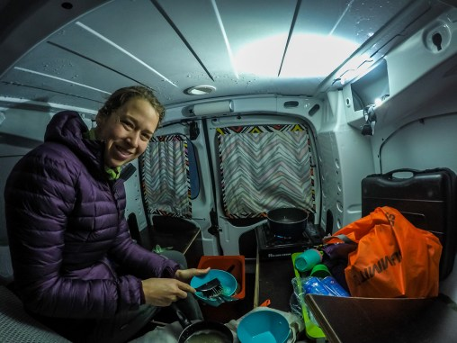 Making a meal at dinner time inside the camper van when it was too cold or windy outside.