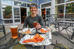 Free food and beer for thru-hikers in the trail town of Hanover, NH before we crossed into Vermont!