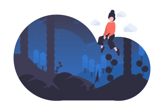 Person sitting atop dream cloud.