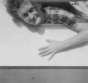Barbara Tyrrell and her beloved caravan