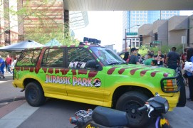 A Jurassic Park themed vehicle gains attention at Comicon in downtown Phoenix Saturday afternoon.