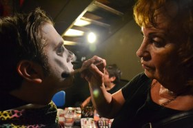 Zombies get there makeup done during the Zombie Ball event at Club Palazzo in Phoenix, Arizona on October 16, 2015