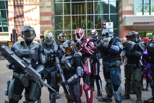 A group shows their Halo costumes at Comicon in downtown Phoenix Saturday afternoon.