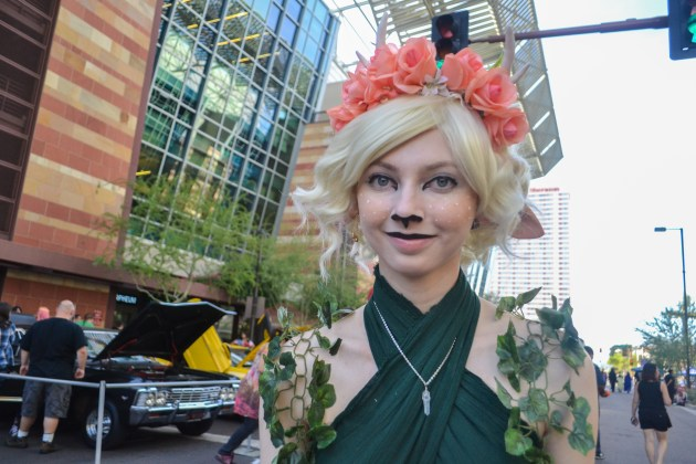 Alex Goodspeed smiles as she gets her picture taken at Comicon in downtown Phoenix Saturday afternoon.