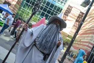 Harkenrider pretends to smoke his pipe at Comicon in downtown Phoenix Saturday afternoon.