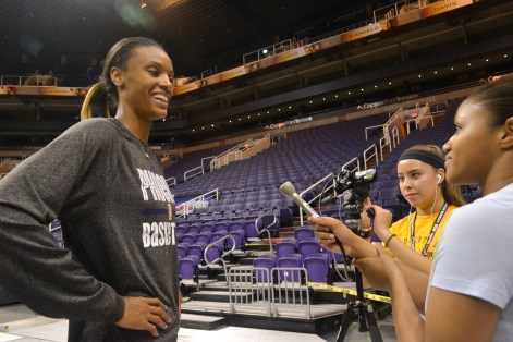 DeWanna Bonner (left), a basketball player on the Phoenix Mercury, gets interviewed by Sarah Hermosillo (middle) and Natori Cruz (right) during the Summer Journalism Program on June 9, 2015.