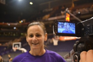 Sandy Brondello, the coach of the Phoenix Mercury basketball team, gets interviewed by students in the Summer Journalism Program on June 9, 2015.
