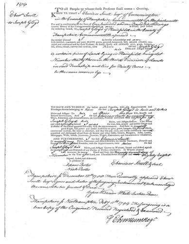 HampshireCounty Registry of Deeds Book 8 page 66: Ebenezer Snel to Joseph Gloyd, 11/22/1788 (registered February 10, 1794)