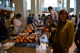 My mom at the french pastries table