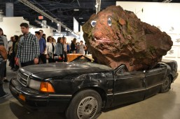 9.5 ton volcanic rock on car jimmie durham still life with xitle and spirit art basel miami beach convention center 2015
