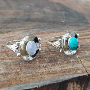 Anéis Turquesa / Pedra da Lua