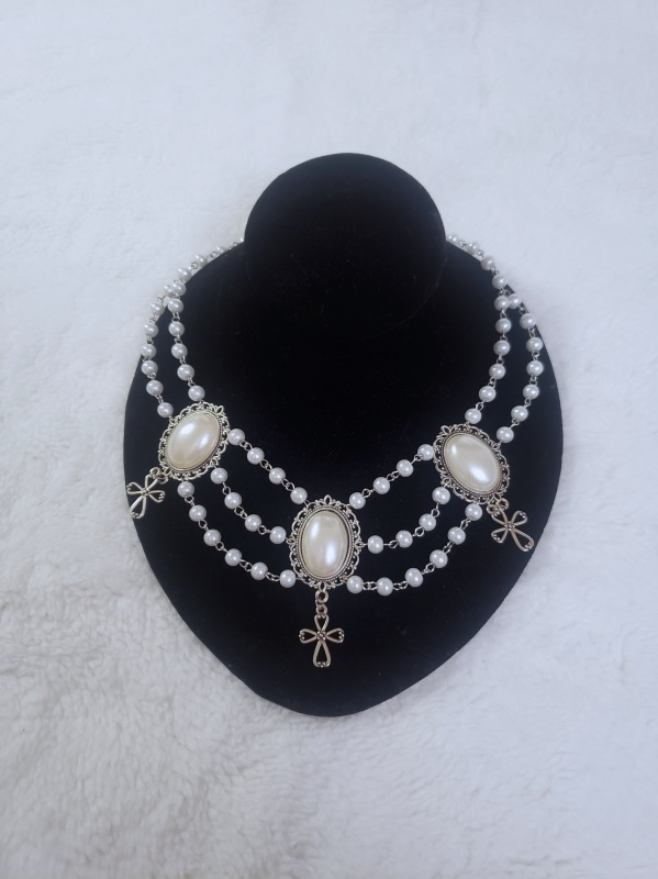 noble jewels pure white cross necklace