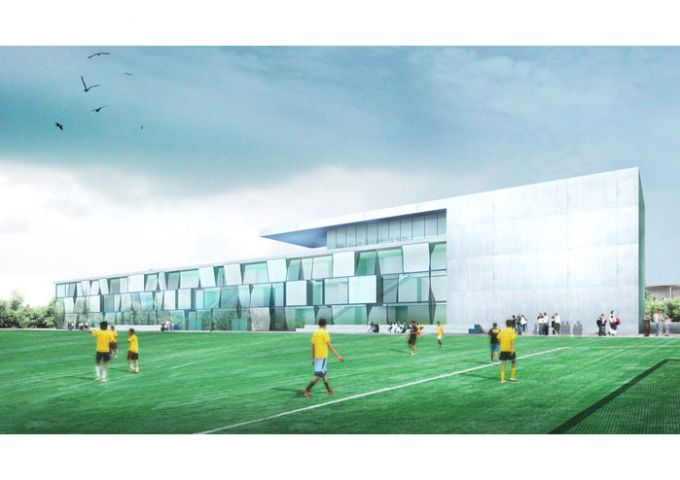 Vue du centre de football depuis le terrain d'honneur